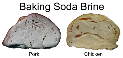 bubble in meat brined in baking soda