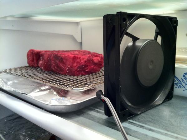 Eldely With No Fan : Aging meat in the fridge